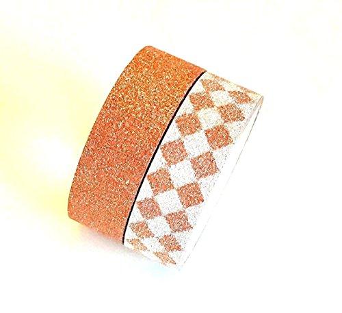 Angel Malone 2pezzi Set arancione bruciato/argento design glitter Plain Paper Washi tape Deco nastro adesivo. Ideale per tutte le vostre creazioni: biglietti, scrapbooking, cucito, bomboniere e molto altro