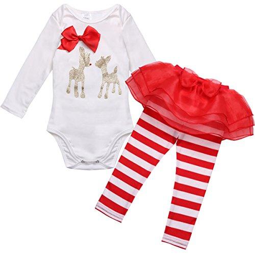 TiaoBug Baby Mädchen Bekleidung Set Langarm Weihnachten Strampler Stirndband Schuhe Beinwärme Weihnachtskostüm Tutu Hose 80
