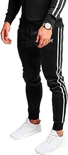 WUAI-Men Slim Stripe Jogger Sweatpants Basic Tapered Athletic Running Sports Workout Track Pants Trousers