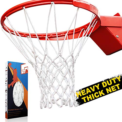 Premium Quality Professional Heavy Duty Basketball Net Replacement - All Weather Anti Whip, Fits Standard Indoor or Outdoor Rims (Professional Standard Size, Red&White)