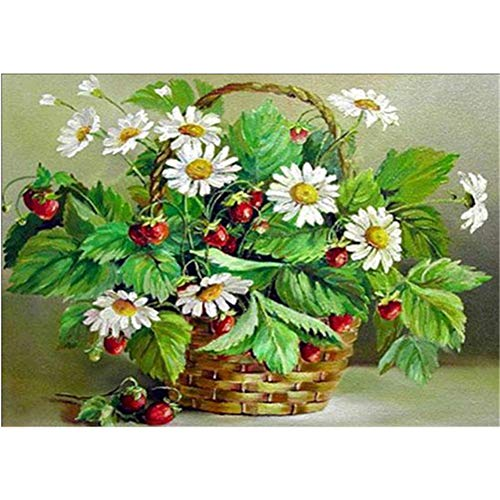 5D DIY Diamond Painting by Number Kit Flower Basket Round Drill,50x40cm Adults and Kids Full Drill Beads Crystal Rhinestone Embroidery Cross Stitch Supplies Arts Craft for Home Wall Decor U4125