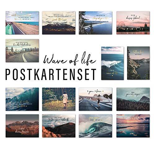 Him & I® Postkarten Set Wave of Life - 15 verschiedene Postkarten mit Sprüchen & Zitaten - Leben, Liebe, Freiheit, Mut, Aufbruch, Selbstliebe & Motivation - inspirierende Spruchkarten mit Motiv