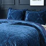 WDXN Copriletto Trapuntato 230 * 250 cm con 2 Federe,Tessuto Vellutato di Alta qualità con Ricamo Blu Copriletto Multifunzionale a Quattro Stagioni,Blue,230 * 250cm