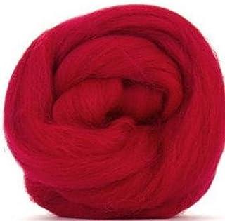 4 oz Paradise Fibers Corriedale Top Spinning Fiber (Scarlet Red)