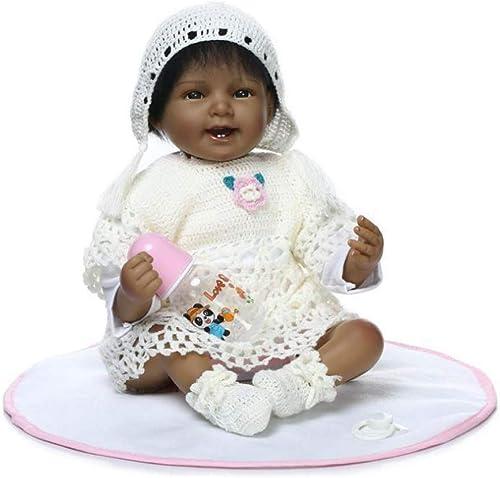 FHSGG Lebensechte Reborn Baby Afroamerikaner Puppen Dunkle Haut Weiße Silikon Vinyl Playmate Sch  Smiley Gesicht Z e Neugeborenes Baby Spielzeug Geschenk 55cm