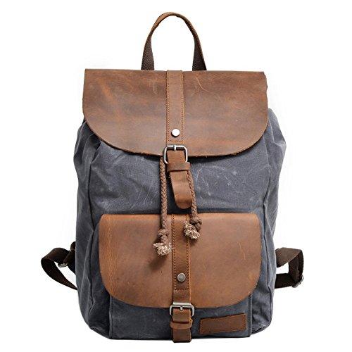 Neuleben Vintage Wasserdicht Rucksack Daypack aus Canvas Leder Damen Herren für Reise Outdoor Schule (Grau)