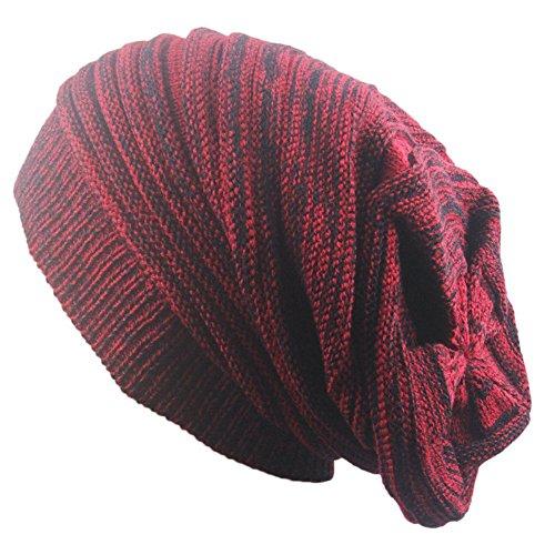 Outflower Bandeau Mode Herbst und Winter Zwei Farben Biegen Strickmütze Hecke Warm Mützen Hip Hop Cap, A, 42-65cm