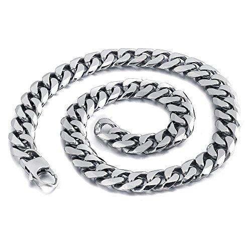 Mendino - Gioielli da uomo in acciaio inox, collana articolata a catena, colore della catena: argento, larghezza: 9 mm, 11 mm,13mm con 1sacchetto in velluto. e Acciaio inossidabile, colore: Argento, cod. JNE0070SI-7 UK