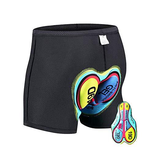 HTTOAR Calzoncillos de Bicicleta Ropa Interior Pantalones Cortos de Ciclismo Deportivo Pantalones Cortos de Bicicleta Acolchados 3D para Hombre Ropa Interior con Antideslizantes (19D, L)