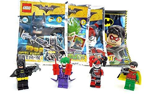 LEGO Juego de 4 piezas de Batman Joker, Harley Quinn y Robin y Batman