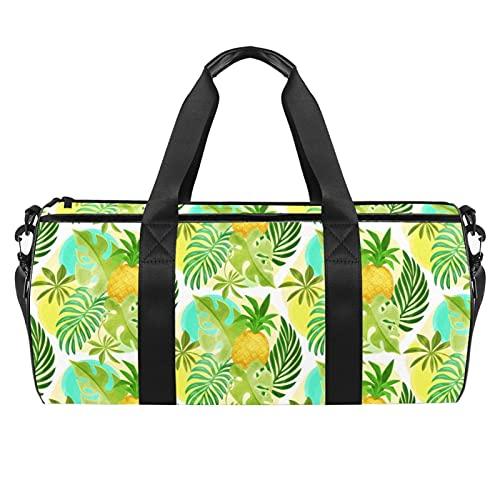 Bolsas de viaje para mujer, piña, hojas tropicales de palma de piña, bolsa de deporte, bolsa de deporte para entrenamiento, bolsa de hombro para toda la noche