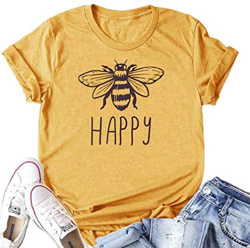 Bee Happy Shirt Women's Cute T Shirts Junior Tops Teen Girls Graphic Tees (A-Yellow, L)