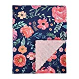 Baby Blanket for Girls Super Soft Double Layer Minky with Dotted Backing, Receiving Blanket with Pink Floral Multicolor Printed Blanket 50 x 60 Inch(125x150cm)