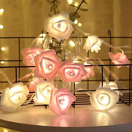MOPOIN IWILCS Rosen Lichterketten, LED Rose Lamp, 3M 20LED Rosen Lichterketten, für Garten Party Hochzeit Valentinstag Weihnachten