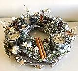 Radami Adventskranz Weihnachtskranz Deko - Kranz mit Teelichtgläser mit Naturmaterialien