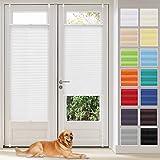 Vkele Estor plisado Klemmfix sin agujeros (blanco, 80 cm x 200 cm) para privacidad y protección solar, estor plisado para ventana y puerta