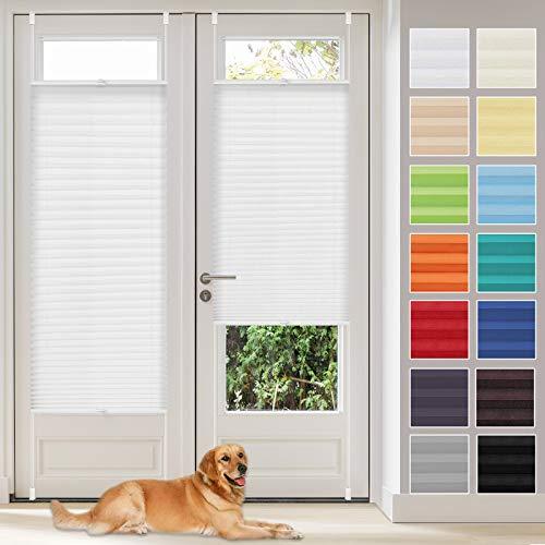 Vkele Plissee Klemmfix Faltrollo ohne Bohren (Weiß, B55cm x H100cm) Sichtschutz und Sonnenschutz, Plissee Rollo Jalousie für Fenster und Tür