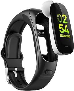 Charla Inteligente con Auriculares Bluetooth Pulsera Actividad, Monitor de Sueño Presión sanguínea Pulsómetro Pulsera Monitor Bluetooth Pulsera Deportiva PulseraInteligente