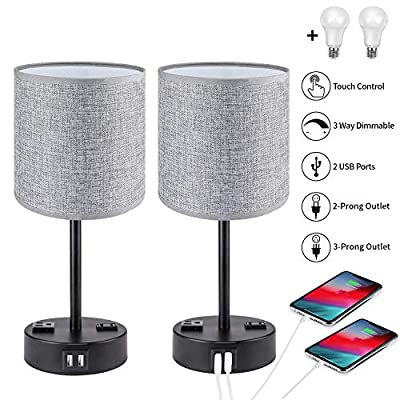 Touch Control USB Table Lamp Set of 2, PARTPHONER 3 Way Dimmable Bedside Nightstand Lamps with 2 USB Charging Ports 2 AC Outlets, Gray Fabric Shade Nightlight for Bedroom Living Room with 2 LED Bulbs
