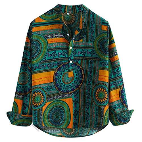 Ginli Camicia Uomo Camicie di Lino a Maniche Corte con V Collo Estive Camicia Verde Giallo Rosso M-XXXXL (M, Verde-3)