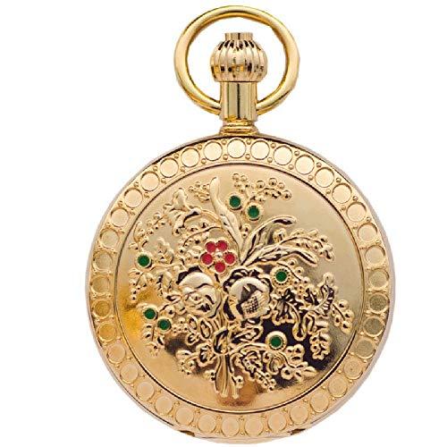 J-Love Reloj de Bolsillo mecánico automático de Camelia de Cobre metálico para Mujer, clásico, Retro, patrón de Concha, Tabla de Pared de Enfermera
