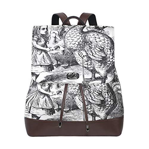 AIMILUX Alice im Wunderland mit Dodo Animal Adventures Big Bird Sketch Kinderthema,Leder Rucksack Frauen Rucksack Casual Sporttasche
