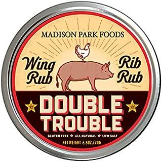 Double Trouble Gourmet Rib Rub & BBQ Wing Seasoning - Gluten Free All Natural Low Salt No MSG, 2.5 oz