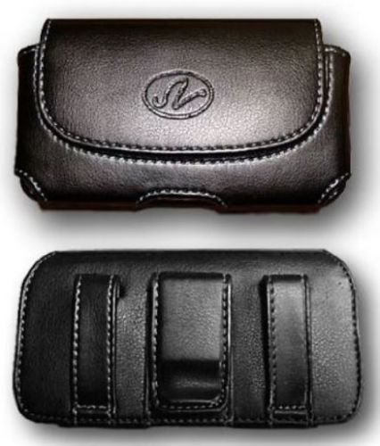 FYL Black Leather Case Pouch Holster Clip for Tracfone/Totall/Net10 LG 237C LG237c