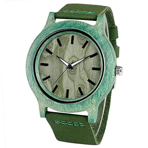 GIPOTIL Brazalete analógico Moderno Reloj de Madera de bambú Hecho a ManoCorrea de Cuero Mujer Señoras Novedoso Reloj de Pulsera de Madera de Cuarzo Deportivo Naturaleza, Verde