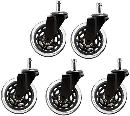 LXM 5 ruedas de repuesto para silla de oficina M11/M10 de poliuretano transparente, ruedas de repuesto giratorias universales de 7,6 cm (tamaño: M10 x 22 mm)