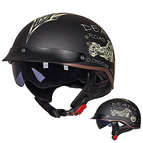 OPRG Half Casco Abierto Motocicleta Scooter,Cascos con Visera Ciclomotor ECE Certificación,F,XXL(61~62CM)