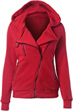 Dermanony Women's Winter Jackets Fashion Solid Color Thermal Long Hoodie Zip Up Warm Coat Casual Outwear with Pockets