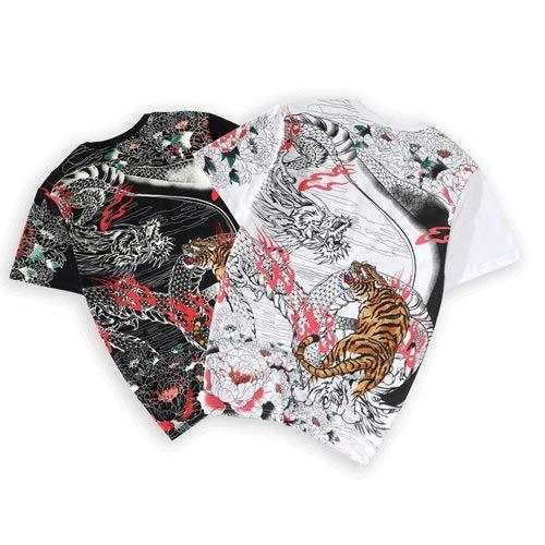 WJMT Camiseta De Naturaleza para Hombre Camiseta De Camping Camiseta De Tigre Bordada De Estilo Chino Camiseta De Algodón Camiseta De Hombre Regalo De Hombre/Unisex