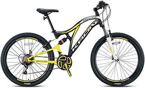 KRON ARES 4.0 Fully Mountainbike 27.5 Zoll | 21 Gang Shimano Kettenschaltung mit V-Bremse | 16.5 Zoll Rahmen Vollgefedert MTB Erwachsenen- und Jugendfahrrad | Schwarz Gelb Weiß