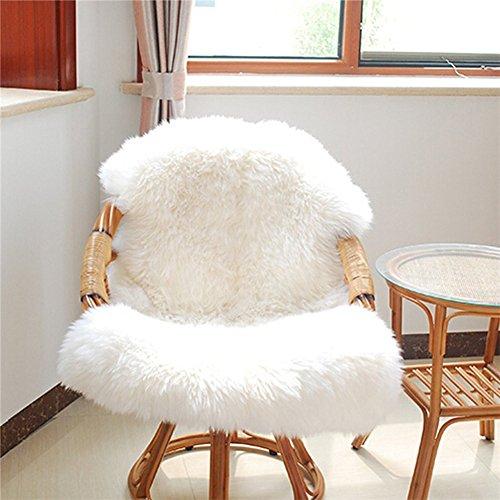 Calistouk Funda de silla o alfombra suave y esponjosa de oveja, antideslizante y lavable, piel sint�