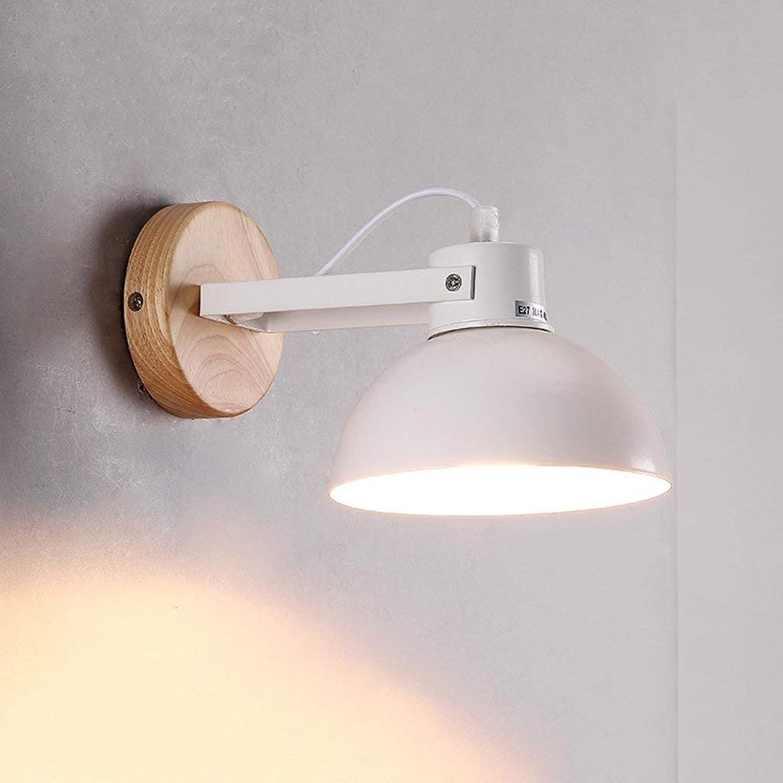 Wandleuchte Nordic Wohnzimmer Treppenhaus Flur Flur Massivholz Bett Lampe amerikanische Schlafzimmer Nachttischlampe Neue (Farbe  wei)