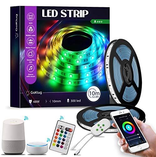 LED Strip 10m Google Home Goklug Led Streifen Alexa Kompatibel, Led Strip Wifi Controller, Led Strip Mit Fernbedienung Lichterkette Zeitschaltuhr Led Streifen Musik Synchronisieren Selbstklebend Bunte