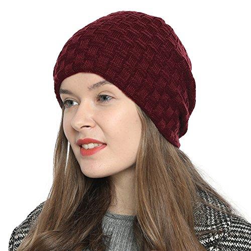 DonDon Mujeres Gorro de invierno Estilo flexible con interior forrado muy suave y cómodo - Rojo oscuro