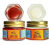 Ungüento masaje tigre oint rojo y blanco, Balsamo para aliviar el dolor muscular 19,4x2 gramos