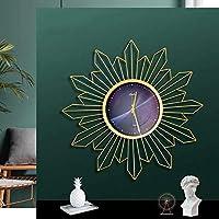 Yangmanini 卸売φ70cmレトロ北欧の豪華な日のウォールクロッククロック創造的なリビングルームの壁時計時計 (Color : Black)
