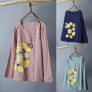 Explopur Women Blouse,Women Cotton Blouse Floral Print O-neck Long Sleeve Button Robe Loose T-shirt Tee Tops Dark Blue/Green/Pink
