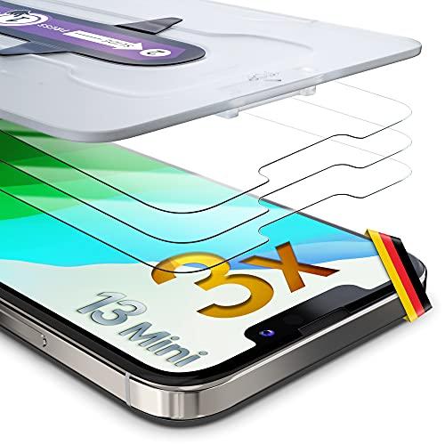 UTECTION 3 pellicole protettive in vetro 3D per iPhone 13 Mini – Applicazione semplicissima – Protezione per display Premium 9H – Protezione completa anteriore – 3 pezzi
