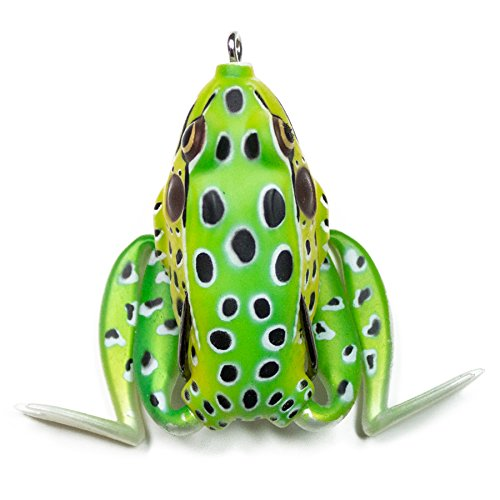 "Lunkerhunt Lunker Frog, Leopard – Fishing Lure with Realistic Design, Legs Extend and Retract in Use, Great for Bass and Pike, Freshwater Lure with Hollow Body, Weighs ½ oz, 2.25"" Length"