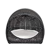 Christopher Knight Home Hayes Outdoor Wicker Igloo Pet Bed with Cushion, Black and Beige