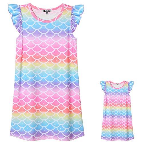 Jxstar Matching Girls & Dolls Nightgown Rainbow Mermaid Fish Scale Nightdress for Kids
