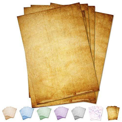 Partycards 50 Blatt Briefpapier Vintage beidseitig bedruckt, Motivpapier Altes Papier (Braun, Format DIN A4 (21 cm x 29,7 cm), Grammatur 90 g/m²)