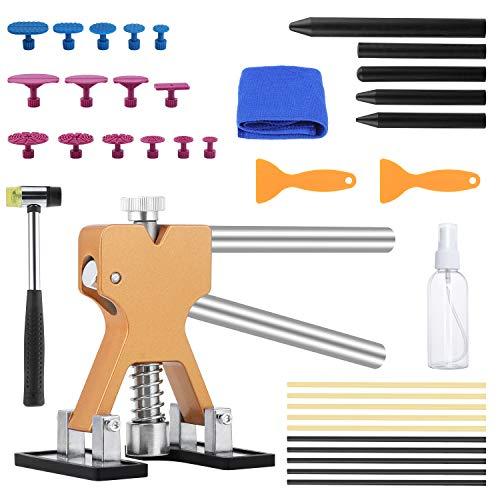 Coolty 36 Stück Dellen Reparaturset, Karosserie Beulenreparatu Werkzeuge, DIY Golden Lifter für Fahrzeug Dellen, Tür Dings und Hagel Schaden Entfernen