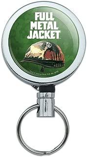 Full Metal Jacket Born to Kill Heavy Duty Metal Retractable Reel ID Badge Key Card Tag Holder with Belt Clip