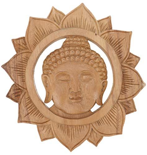 Guru-Shop Gesneden Muurschildering Wandreliëf - Boeddha-hoofd, Bruin, 25x25x2 cm, Maskers Wanddecoratie