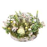 Phoeni - Portacandele in vetro creativo, a forma di uovo di Pasqua nordica, con ghirlanda di uova di Pasqua e base in schiuma, ideale come centrotavola per la casa